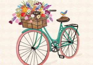 bicycle with flowers in front basket
