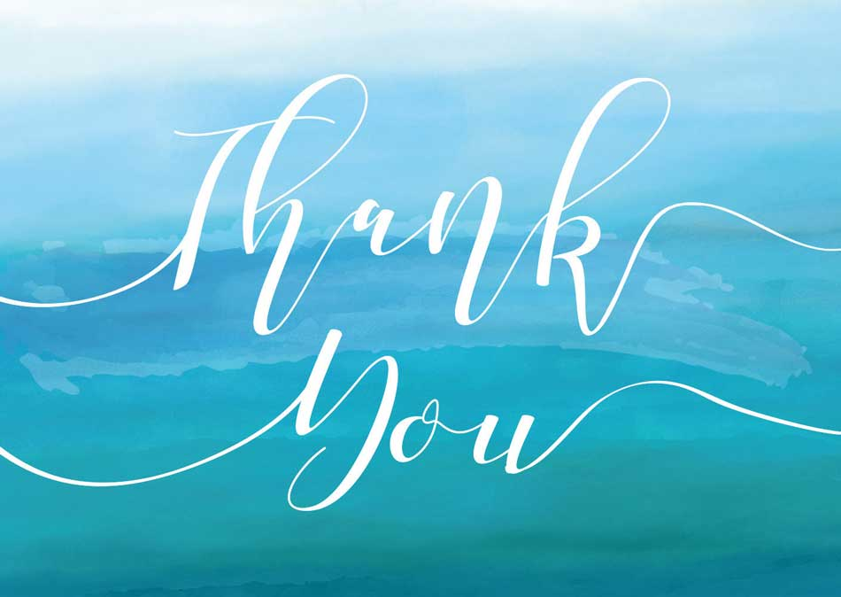 Blue background with flowing text that says Thank You