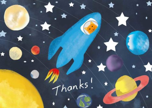 Blue Spaceship Piloted by an Orange Cat in Space with Planets All Around