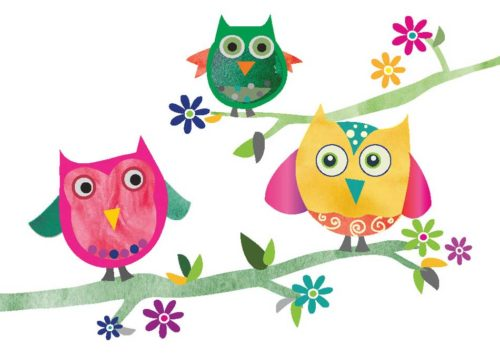 Three Colorful Owls