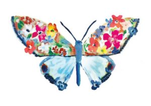 Multicolored Watercolor Butterfly with Blue Wings and Flowers on the top half of wings