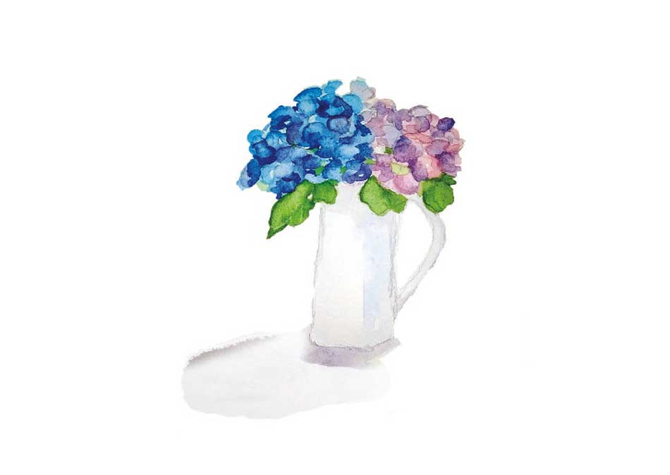 Vase on a white background with blue and purple flowers