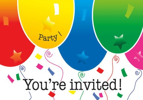 Colorful Party Balloons and the text You're Invited!