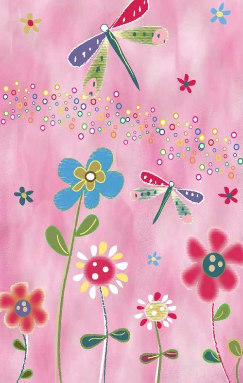 Dragonfly Amid Flowers