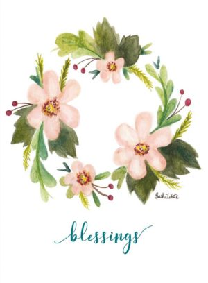 Floral wreath with Blessings underneath