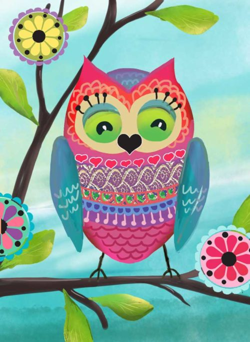 Very Colorful Owl